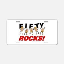 Fifty Rocks Aluminum License Plate