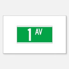 1st Ave., New York - USA Rectangle Decal