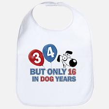 34 year old birthday design Bib