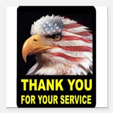 "MILITARY THANKS Square Car Magnet 3"" x 3"""