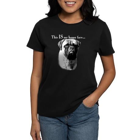 Bullmastiff Happy Face Women's Dark T-Shirt