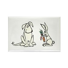 Dog and Rabbit Rectangle Magnet
