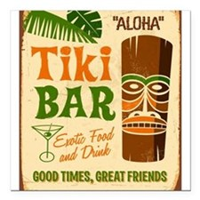 "Tiki Bar Square Car Magnet 3"" x 3"""