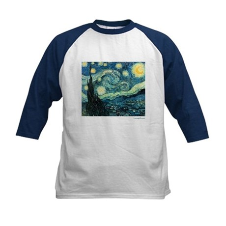 Starry Night Vincent Van Gogh Kids Baseball Jersey