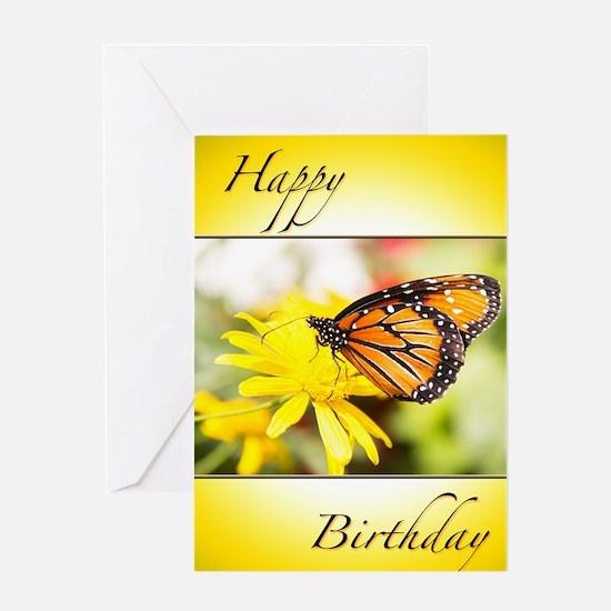 Happy Birthday Butterfly & Dahlia Greeting Car
