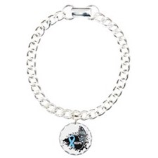 Thyroid Disease Butterfly Charm Bracelet, One Char