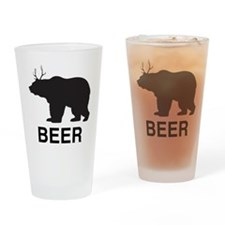 Beer. Bear with Deer Antlers Drinking Glass