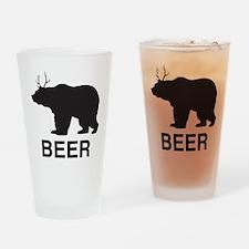 Beer. Bear with Deer Antlers Drinking Glass