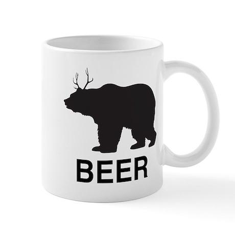 Beer. Bear with Deer Antlers Mug