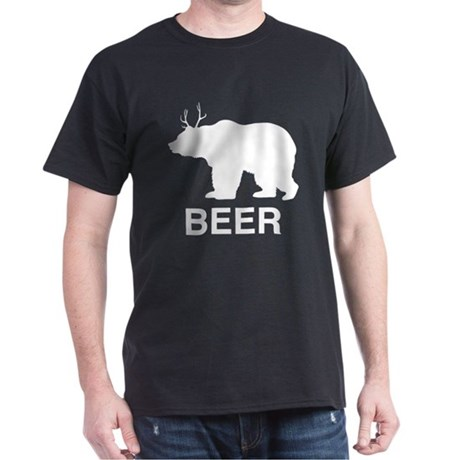 Beer. Bear with Deer Antlers T-Shirt