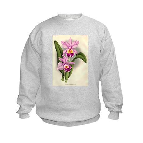 Orchid Antique Botanical Prin Kids Sweatshirt