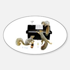 Squirrels at the Piano Sticker (Oval)