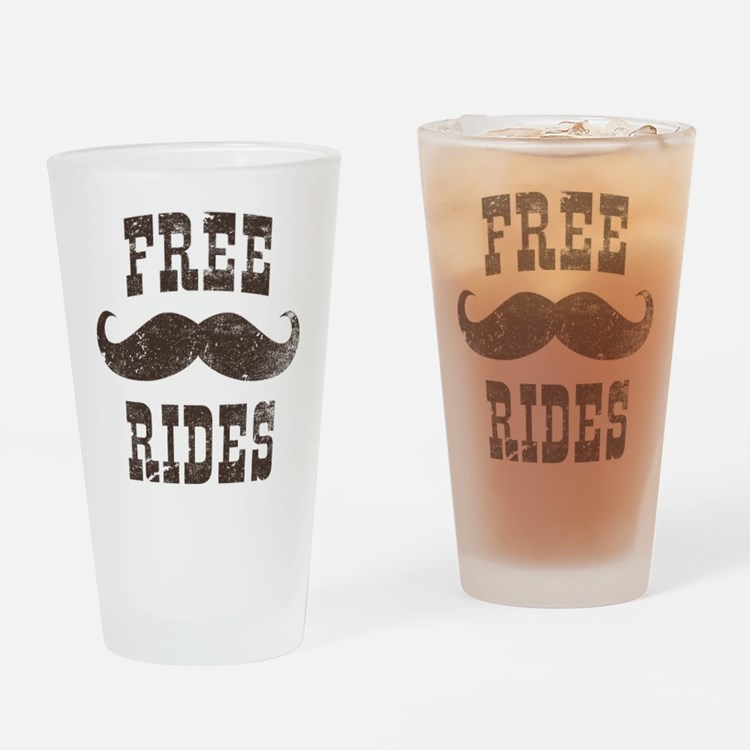 Free Mustache Rides Drinking Glass