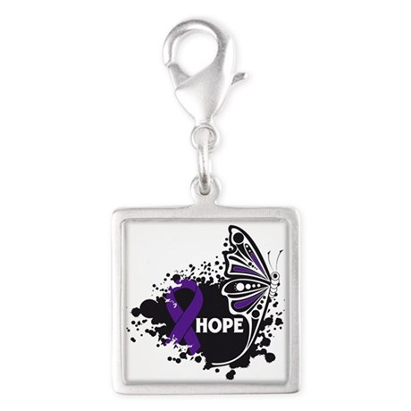 Lupus Hope Butterfly Silver Square Charm