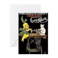 Sewing Machine, Girl, Cat, Vintage Poster Greeting