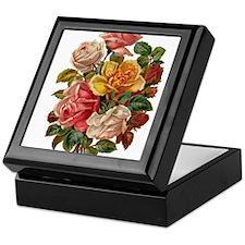 Victorian Roses Bouquet Vinta Keepsake Box