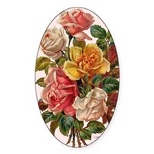 Victorian Roses Bouquet Vinta Oval Decal