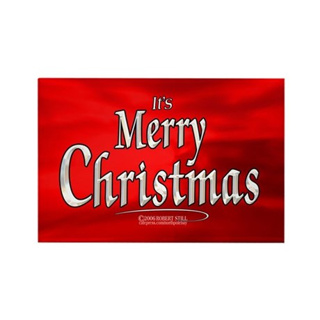 """It's Merry Christmas"" Red Rectangle Magnet"