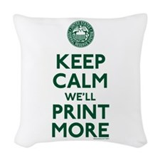 Keep Calm Fed Parody Woven Throw Pillow