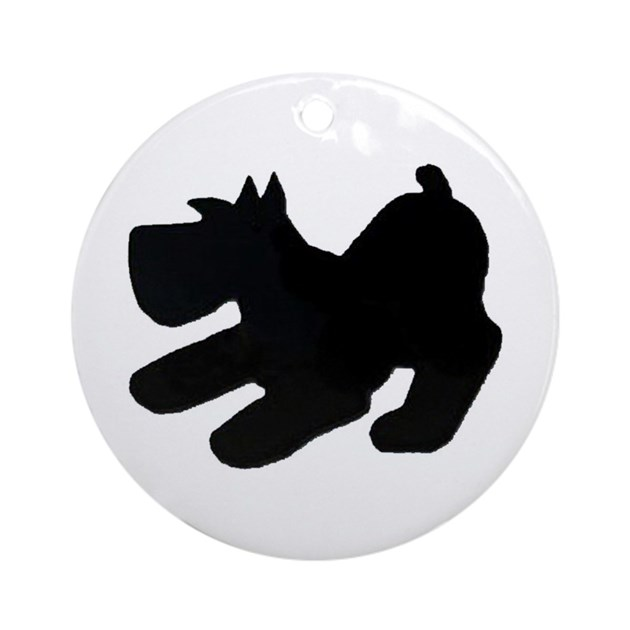 Round Ornament Schnauzer Pup Silhouette By Schnauzers