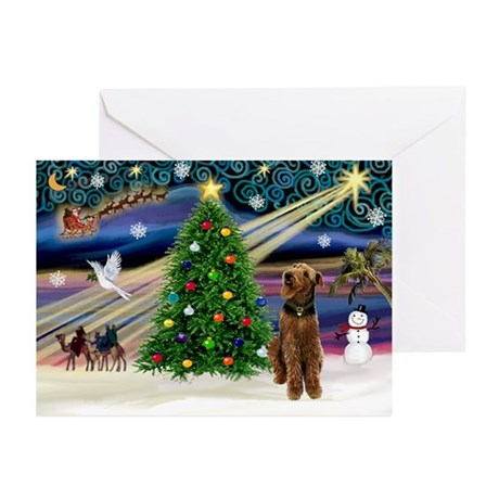 Xmas Magic & Airedale (#1) Greeting Cards (Pk of 1
