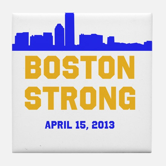 Boston Strong Blue and Gold Skyline Tile Coaster