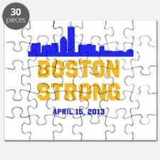 Boston Strong Blue and Gold Skyline Puzzle