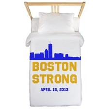 Boston Strong Blue and Gold Skyline Twin Duvet
