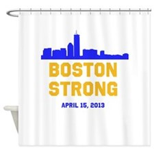 Boston Strong Blue and Gold Skyline Shower Curtain