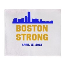 Boston Strong Blue and Gold Skyline Throw Blanket