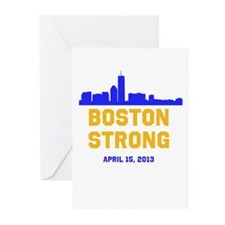 Boston Strong Blue and Gold Skyline Greeting Cards