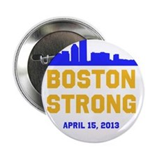 """Boston Strong Blue and Gold Skyline 2.25"""" Button ("""