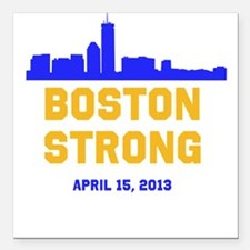 Boston Strong Blue and Gold Skyline Square Car Mag