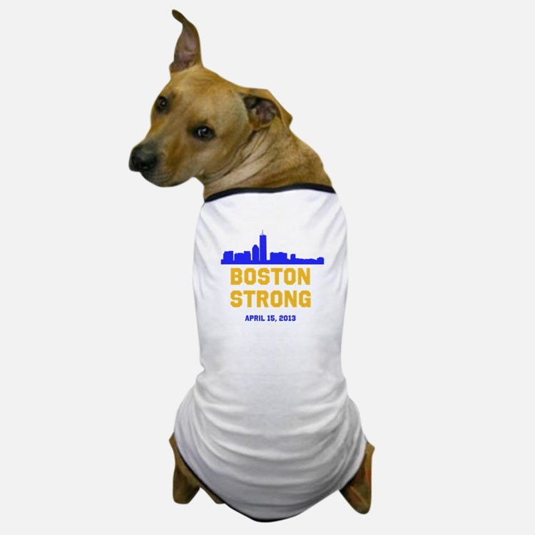 Boston Strong Blue and Gold Skyline Dog T-Shirt
