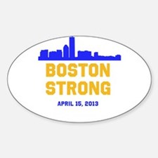 Boston Strong Blue and Gold Skyline Decal