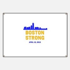 Boston Strong Blue and Gold Skyline Banner