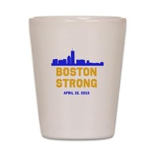 Boston Strong Blue and Gold Skyline Shot Glass