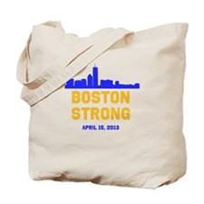 Boston Strong Blue and Gold Skyline Tote Bag