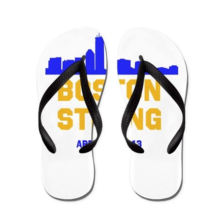 Boston Strong Blue and Gold Skyline Flip Flops