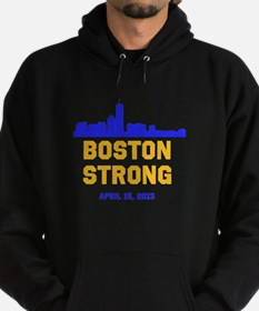 Boston Strong Blue and Gold Skyline Hoodie