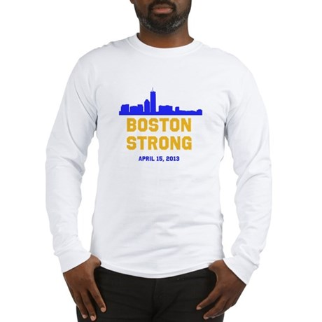 Boston Strong Blue And Gold Sk Long Sleeve T-Shirt