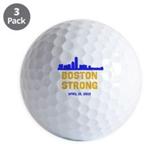 Boston Strong Blue and Gold Skyline Golf Ball