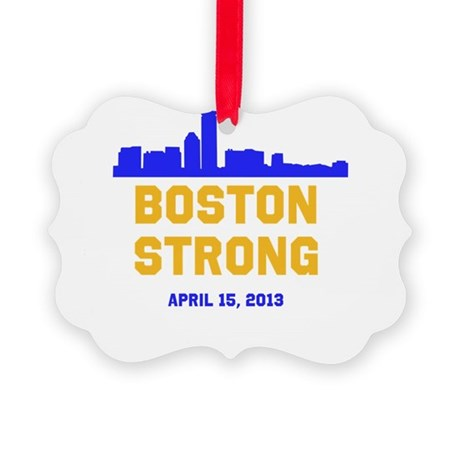 Boston Strong Blue and Gold Skyline Ornament