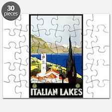 Antique Italian Lakes Travel Poster Puzzle