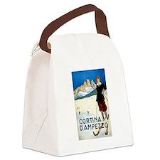 Antique Italian Cortina Skiing Travel Poster Canva