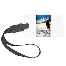 Antique Italian Cortina Skiing Travel Poster Lugga