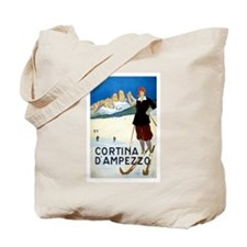 Antique Italian Cortina Skiing Travel Poster Tote