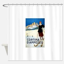 Antique Italian Cortina Skiing Travel Poster Showe