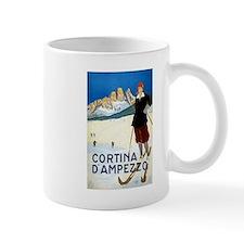 Antique Italian Cortina Skiing Travel Poster Mug
