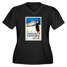 Antique Italian Cortina Skiing Travel Poster Plus
